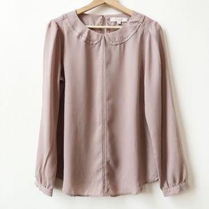 Loft Faux Collar Long Sleeve Blouse